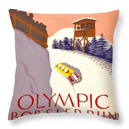 Poster Throw Pillow featuring the photograph Vintage Poster - Olympics - Lake Placid Bobsled by Benjamin Yeager