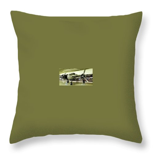 Vintage Airplane Throw Pillow featuring the photograph Vintage Silver Bomber Airplane by Susan Garren