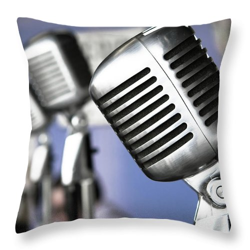 Music Throw Pillow featuring the photograph Vintage Standing Radio Microphones by Photo By Brian T. Evans