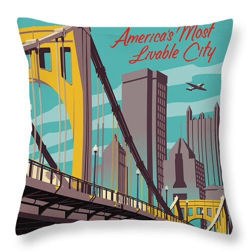 Pittsburgh Throw Pillow featuring the digital art Pittsburgh Poster - Vintage Travel Bridges by Jim Zahniser