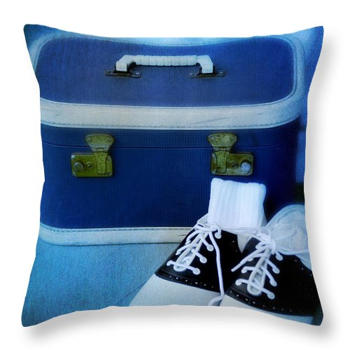 Suitcase Throw Pillow featuring the photograph Vintage Suitcase And Saddle Shoes by Birgit Tyrrell