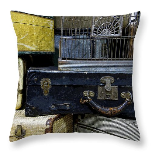 Suitcase Throw Pillow featuring the photograph Vintage Suitcase by Rebecca Renfro