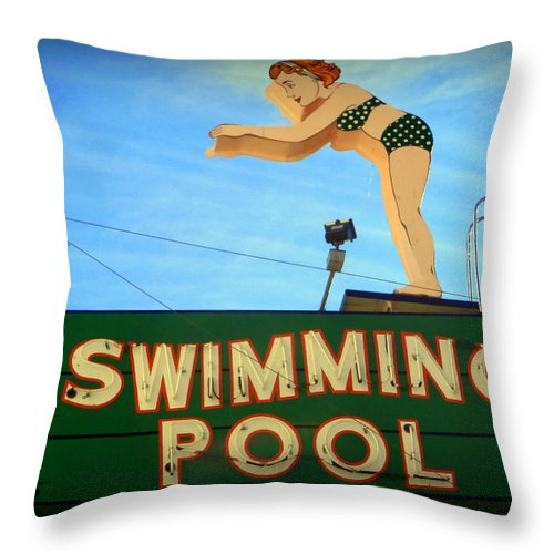 Vintage Throw Pillow featuring the photograph Vintage Swimming Lady Hotel Sign by Karyn Robinson