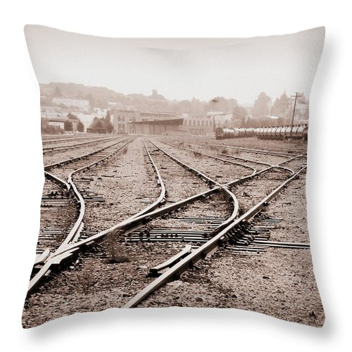 Train Throw Pillow featuring the photograph Vintage Tracks by Brigitte Mueller