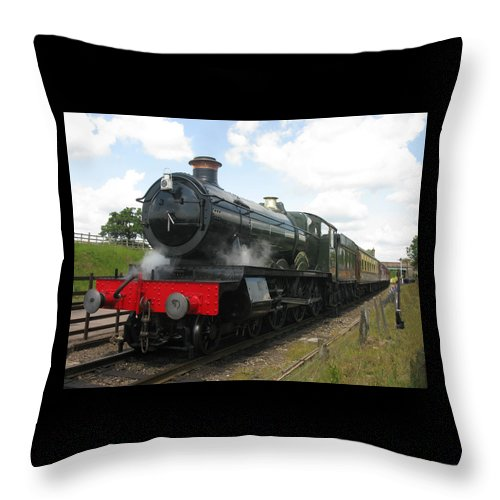 Railway Throw Pillow featuring the photograph Vintage Train Black Steam Engine by Tom Conway