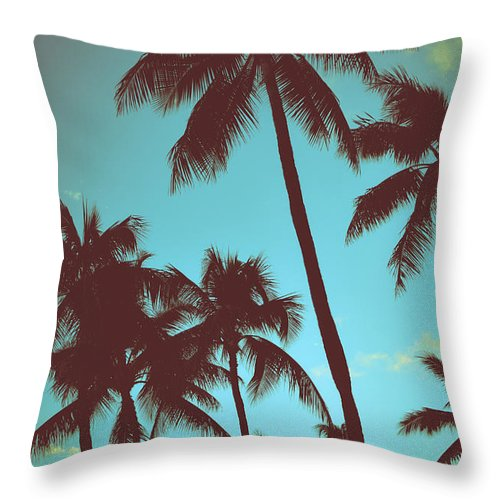 Aged Throw Pillow featuring the photograph Vintage Tropical Palms by Mr Doomits
