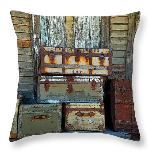 Marcia Lee Jones Throw Pillow featuring the photograph Vintage Trunks  Sold by Marcia Lee Jones