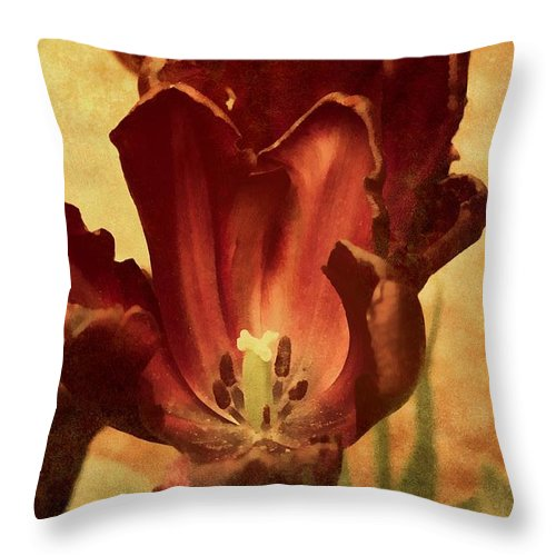 Vintage Throw Pillow featuring the mixed media Vintage Tulips by Georgiana Romanovna