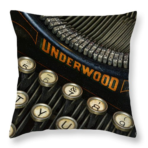 Paul Ward Throw Pillow featuring the photograph Vintage Typewriter by Paul Ward