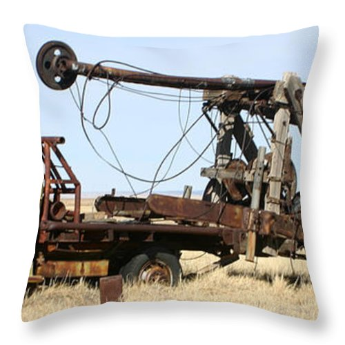 Thank You For Buying A 40.000 X 13.375 Print Of Vintage Water Well Drilling Truck To A Buyer From Ramah Throw Pillow featuring the photograph Vintage Water Well Drilling Truck by Jack Pumphrey