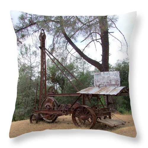 Well Driller Throw Pillow featuring the photograph Vintage Well Driller 2 by Mary Deal