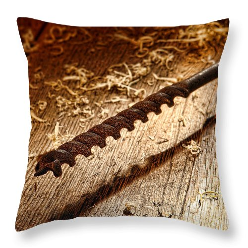 Drill Throw Pillow featuring the photograph Vintage Wood Drill by Olivier Le Queinec