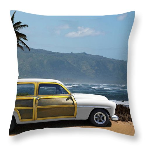 Haleiwa Throw Pillow featuring the photograph Vintage Woody On Hawaiian Beach by Ed Freeman