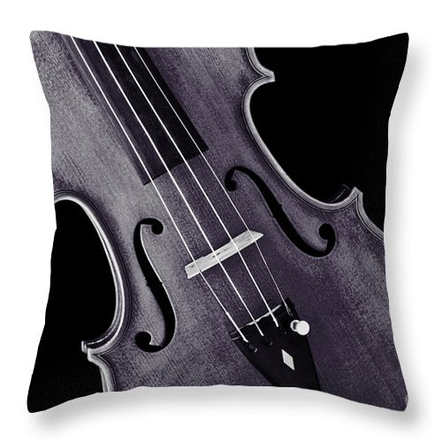 Violin Throw Pillow featuring the photograph Viola Violin Photograph Strings Bridge In Sepia 3263.01 by M K Miller