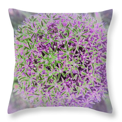 Flower Throw Pillow featuring the photograph Violet And Green by Christiane Schulze Art And Photography