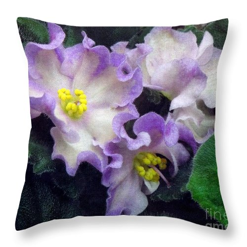 African Throw Pillow featuring the photograph Violet Blooms . Linen by Renee Trenholm