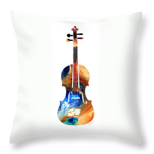 Violin Throw Pillow featuring the painting Violin Art By Sharon Cummings by Sharon Cummings