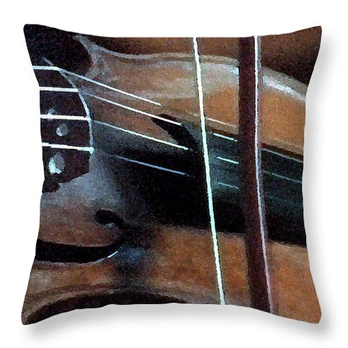 Violin Throw Pillow featuring the painting Violin by George Pedro