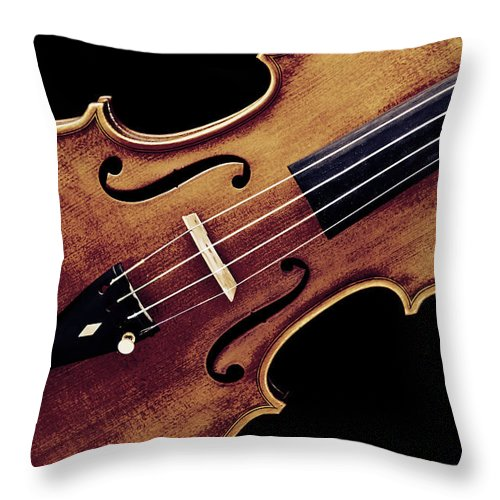 Violin Throw Pillow featuring the photograph Violin Viola Photograph Strings Bridge In Color 3264.02 by M K Miller
