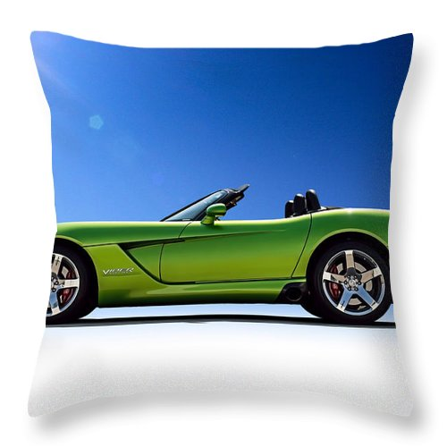 Green Throw Pillow featuring the digital art Viper Roadster by Douglas Pittman