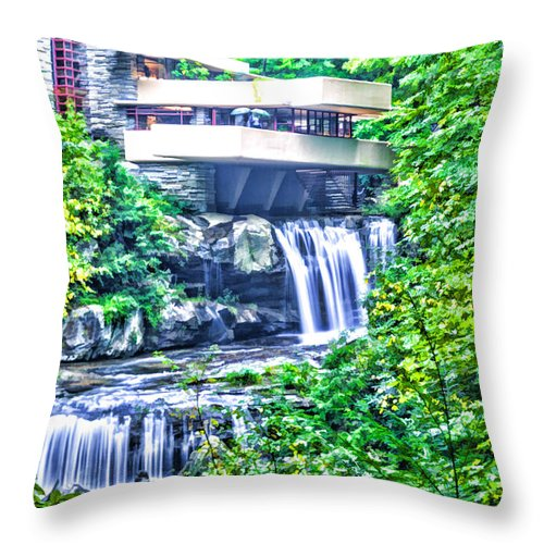 Falling Waters Throw Pillow featuring the digital art Viracious Falling Waters by L J Oakes