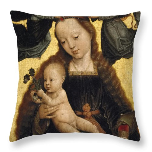 Gerard David Throw Pillow featuring the painting Virgin And Child With Angels by Gerard David