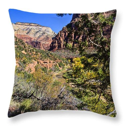 Virgin River Throw Pillow featuring the photograph Virgin River View - Zion by Jon Berghoff