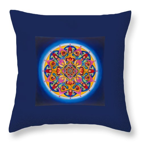 Yellow Throw Pillow featuring the painting Vision - Brow Chakra Mandala by Vikki Reed