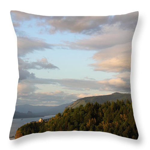 Taken From One Of My Favorite Places In The Columbia River Gorge Scenic Area. You Can See The Vista House In The Distance. Throw Pillow featuring the photograph Vista Sky by Dawn Kori Snyder