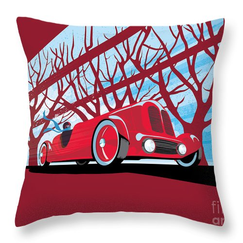 Vintage Racer Throw Pillow featuring the painting Vntage Racer by Sassan Filsoof