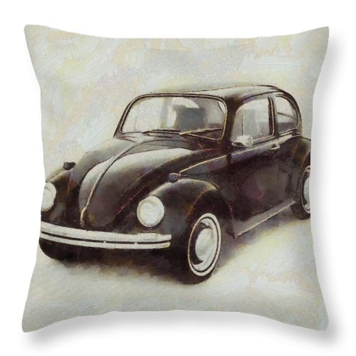 Volkswbeetle Pop Art Throw Pillow Featuring The Mixed Media Volksw Beetle Live Below Your Means