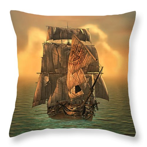 Voyage Throw Pillow featuring the digital art The Voyage Of The Dawn Treader by Mo T