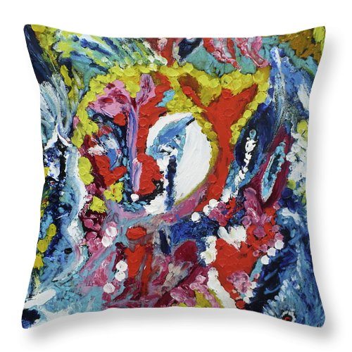 Poem In Colors. Throw Pillow featuring the painting Voyelles by Coco de la garrigue
