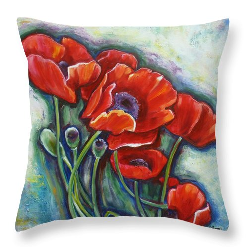 Poppy Throw Pillow featuring the painting Vying For Attention 2 by Sheila Diemert