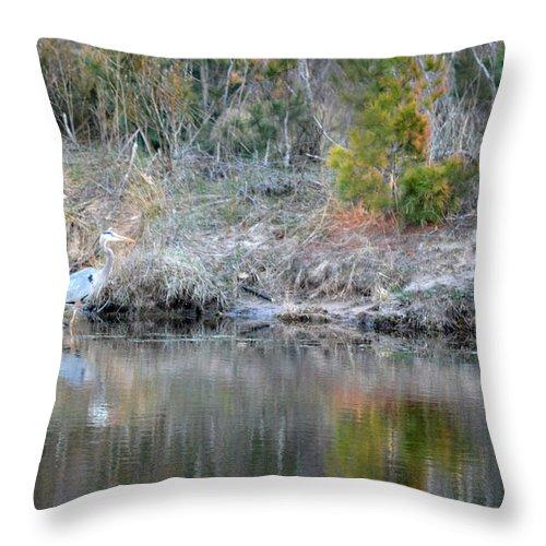 Blue Heron Throw Pillow featuring the photograph Wading Along by Linda Kerkau