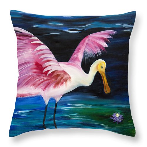 Birds Throw Pillow featuring the painting Wading Around by Christine Baeza