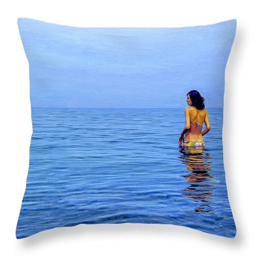Wading Throw Pillow featuring the painting Wading In by Dominic Piperata