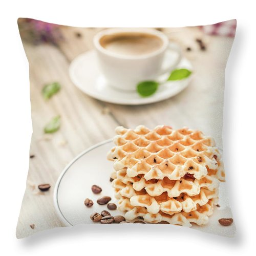 Breakfast Throw Pillow featuring the photograph Waffles With Coffee by Da-kuk