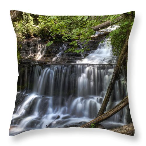 Water Throw Pillow featuring the photograph Wagner Falls by Scott Wood