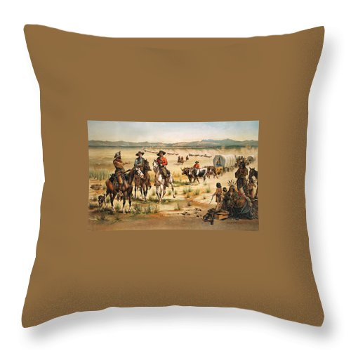 Wagon Train Throw Pillow featuring the digital art Wagon Train by Unknown