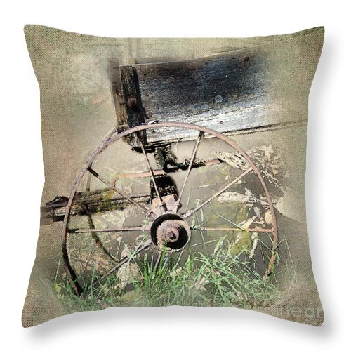 Wagon Throw Pillow featuring the photograph Wagon West by Betty LaRue