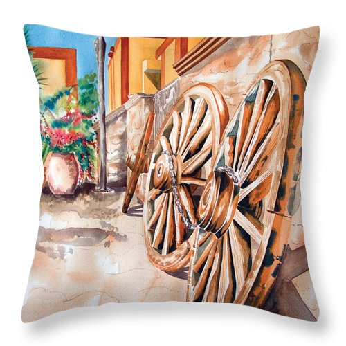 Landscape Paintings Throw Pillow featuring the painting Wagon Wheels by Kandyce Waltensperger