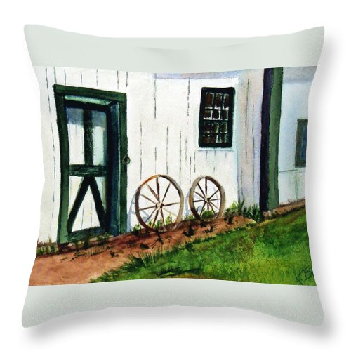 Wheels Throw Pillow featuring the painting Wagon Wheels by Katherine Berlin