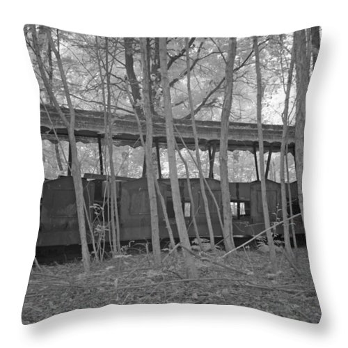 Bomen Throw Pillow featuring the photograph Wagons In The Forest In Infrared Light In Netherlands by Ronald Jansen