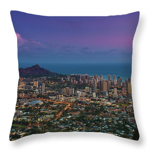 Tranquility Throw Pillow featuring the photograph Waikiki And Diamond Head At Sunset by J. Andruckow