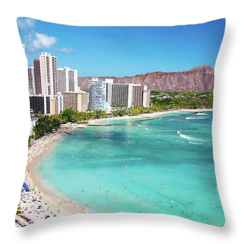 Water's Edge Throw Pillow featuring the photograph Waikiki Beach by M Swiet Productions