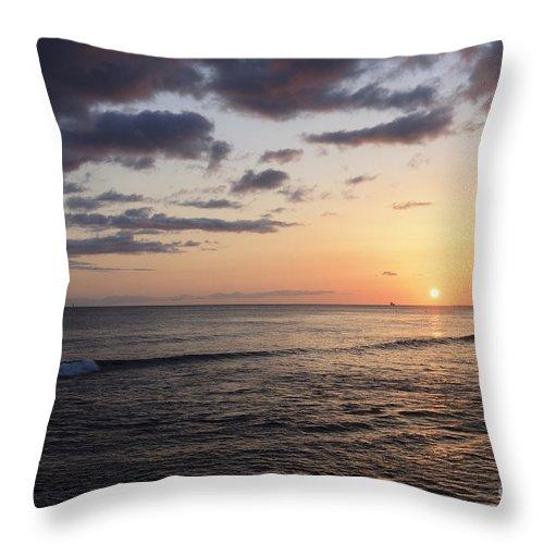 Beach Throw Pillow featuring the photograph Waikiki Sunset by Brandon Tabiolo