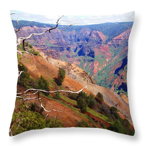 Waimea Canyon Throw Pillow featuring the painting Waimea Canyon 1 by Ellen Henneke