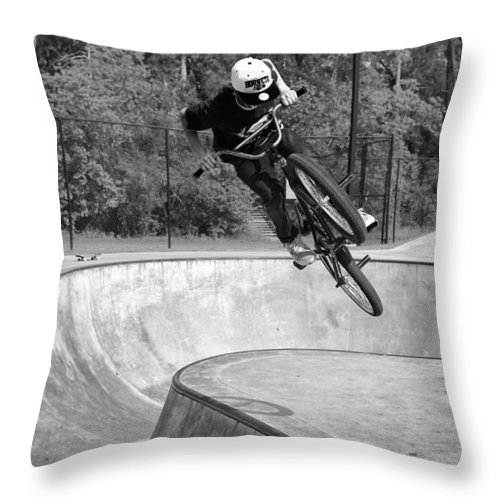 Bmx Throw Pillow featuring the photograph Wait For It by Mick Logan
