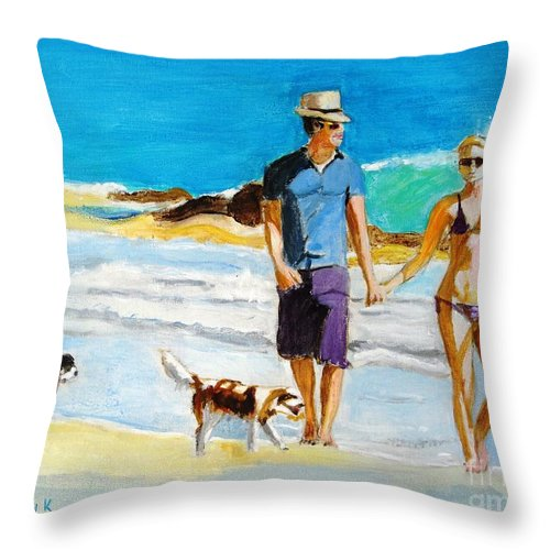 Beach Throw Pillow featuring the painting Wait For Me by Judy Kay
